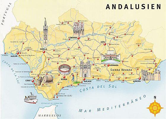 karte von andalusien Karte von Andalusien karte von andalusien